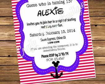 Nautical Mickey Mouse Invitations