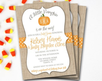 Pumpkin Baby Shower Invitation, Fall Baby Shower Invitation, Halloween Baby Shower, Monogram Baby Shower, Printable Invitation,DIY Printable