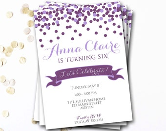 Confetti Birthday Invitation, Purple Birthday Invitation, Confetti Invite, Girl Birthday, DIY Printable