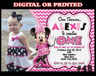 Minnie Mouse Invitations DIGITAL or PRINTED Invitations  chevron PINK Birthday Party Invitation