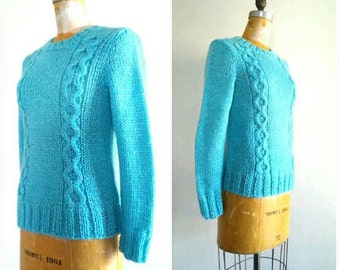 Vintage 1960s Turquoise Sweater, Vintage Acrylic Sweater, Hand Knit, Aqua Sweater, Turquoise Pullover Sweater, St. Martine, Size Small