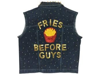 Fries Before Guys Studded Denim Vest
