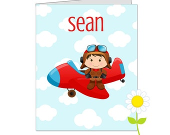 Personalized Pilot Folder - Airplane Pocket Folder for Boys - Custom School Folder - Pilot Folder with Name - Back to School Gift