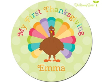 Personalized Thanksgiving Plate for Kids - My First Thanksgiving Plate - Personalized Turkey Plate - Fall Holiday Plate for Kids