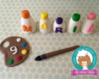 Art fondant cupcake topper