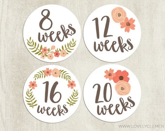 Pregnancy stickers, baby belly stickers, maternity stickers - floral script