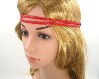 Red Boho Headband,Red Leather Braided Bohemian Headband,Red Christmas Headband,Double Stranded Headband,Girls Women Men Adult Hairband