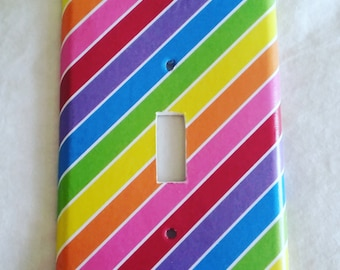 Rainbow/Stripes/Multi/Decorative Light Switch/Cover/Nursery/Baby Shower/Gift/Wedding/Switch Plate/Wall/Beautiful/Decor/Girl/Bedroom