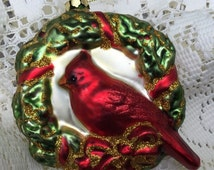 SALE Cardinal Christmas Tree Ornament Blown Glass Pendant Shaped Ornament Cardinal Perched in Sparkly Evergreen Wreath Bow  Estate Item