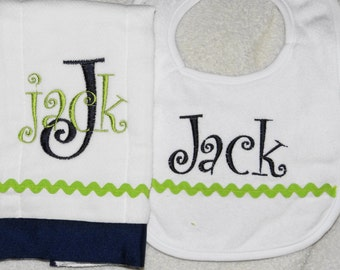 Navy and Bright Green Personalized Embroidered Burp Cloth and Bib Set