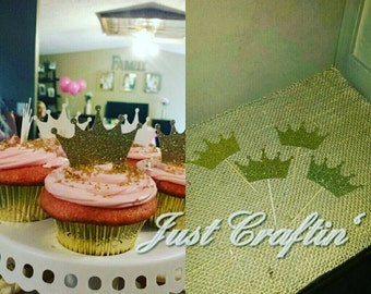 Glittery crown cupcake toppers (25ct)