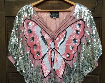 Amazing Vintage 70's Sequined Butterfly Silk Poncho Blouse