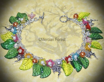 Fairy Flower Bracelet - Handmade Pagan Jewellery Inspired by the Fae or Sidhe, Wicca, Witch