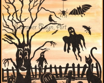 item 0126a halloween scene with trees tombstones bats and ghosts watercolor print