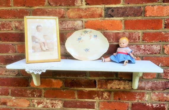 Distressed White Wood Wall Shelf Pictured Wide