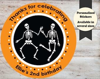 Skeleton Halloween Sticker, Dancing Skeleton Sticker, Skeleton Party Favor, Skeleton Personalized Stickers, Personalized Halloween Sticker