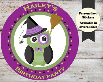 Owl Halloween Stickers, Owl Party Favors, Owl Stickers, Owl Personalized Stickers, Owl Halloween, Halloween Stickers, Halloween Favors
