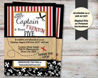 Pirate Birthday Party Invitations, Pirate Birthday, Pirate Party, Pirate Birthday Party, Pirates, Digital File or Printed Invitations