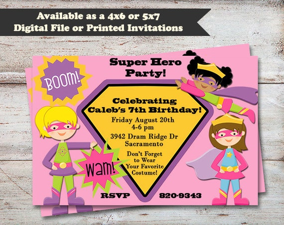 Superhero Girls Birthday Party Invitations Super Hero Party Super