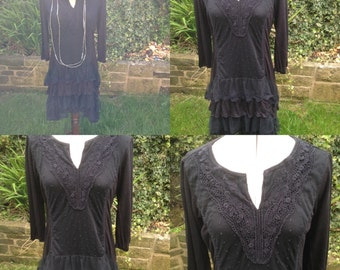 Gothic Black Dress, Steampunk, Lace Dress, Victorian, Vintage Dress, Tunic Dress