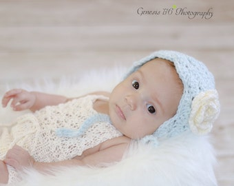 Crochet baby bonnet, shell bonnet, rose bonnet, photo prop, baby gift, layette, baby accessory, spring baby hat