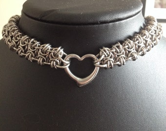 Heart Chainmaille Choker - Stainless Steel Choker with Focal Heart - Chainmaille Necklace with Heart Focal