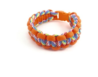 8 Inch Bright Orange and Rainbow Paracord Bracelet; Rainbow Survival Bracelet; Multi Tone Bracelet