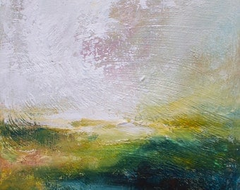Original abstract  painting,Ascending, acrylic landscape , atmospheric, modern art, 6x6 inches FREE SHIPPING