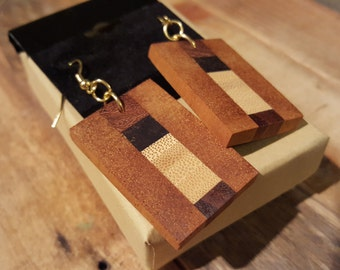 Mixed Exotic Wood Earrings - EDN020