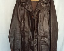 Brown Leather Jacket Coat Vintage Men's XL