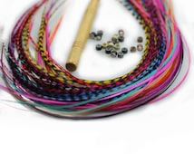 Sexy Sparkles Feather Hair Extensions, 100% Real Rooster Feathers, Long Rainbow Colors, 20 Feathers with Beads and Loop Tool Kit