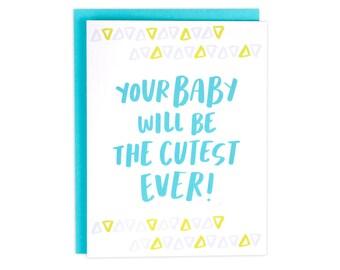 Baby Card, Baby Shower Card, Cutest Baby Ever Card, Geometric Baby Card, Pastel Baby Card, Card Baby, Baby Girl Card, Baby Boy Card, Unisex