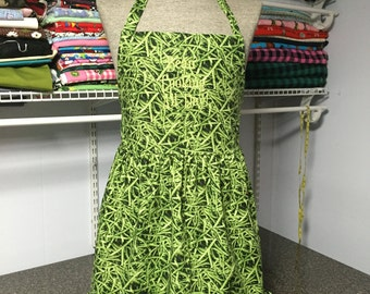 Green bean Apron Adult and or Child Ruffle adjustable personalized monogram flirty apron puny apron full coverage apron women's ladies