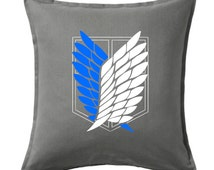 """Attack on Titan Survey Corps, Scouting Legion pillow COVER ONLY large size 20x20"""""""