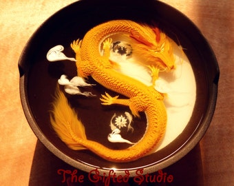Golden Dragon with Tai Chi pattern! Golden Dragon resin artwork,unique gift,Art Decoration by acrylic paints and resin,xmas gifts,3D dragon