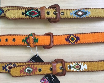 Handmade, hand woven, Guatemalan textiles, leather, belt