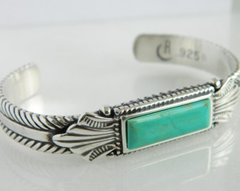 Beautiful Carolyn Pollack Sterling Silver & Turquoise Cuff Bracelet