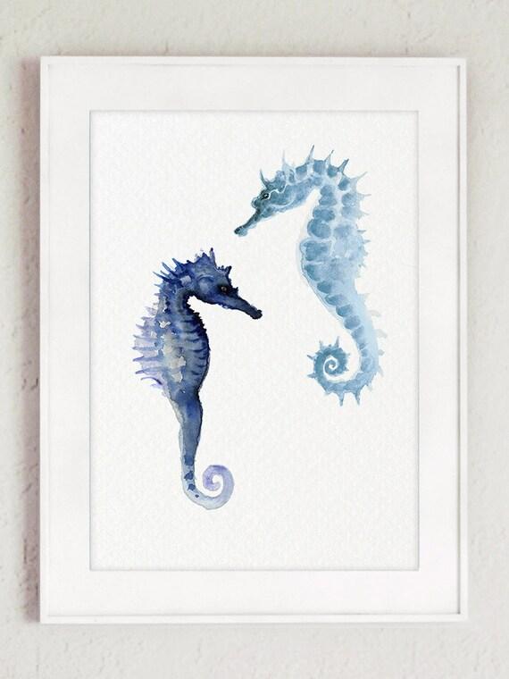 Seahorse Watercolor Painting Ocean Home Decor Blue Seahorses