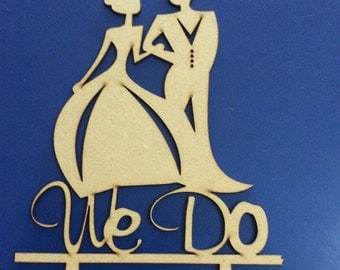We do, cake topper, made of wood, wedding topper