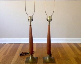 Mid Century Modern Wood Lamp Set