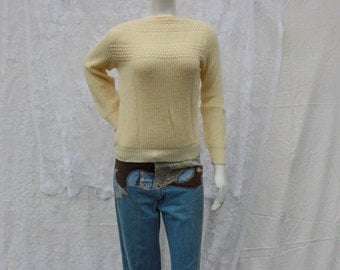 Cream Boatneck Sweater - S/M