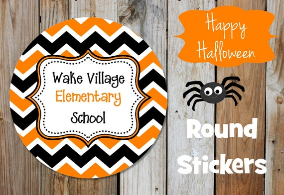 Halloween Stickers - Black and Orange Chevron Stickers -  Round Labels - Personalized Labels - Orange, Black, Tags