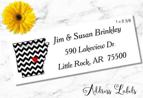 Arkansas Address Labels - State Address Labels - Chevron Arkansas - Personalized Stickers - Personalized Labels - Family Labels