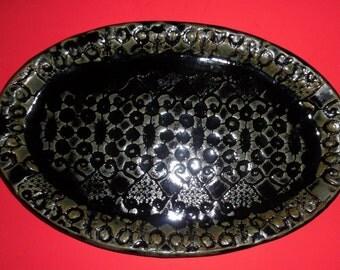 HERMAN A. KAHLER Danish Art Pottery Oval Plate Tray Textured Dark Green Signed Ceramic Vintage Scandinavian Denmark Midcentury Dish HAK