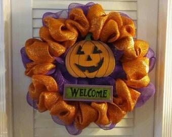 Welcome Sign Jack O' Lantern Wreath, Halloween Wreath, Halloween Mesh, Halloween Decoration, Halloween Decor, Pumpkin Wreath, Mesh Wreath