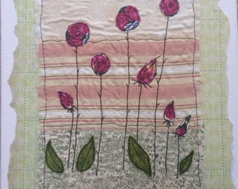 Floral design machine embroidered fabric and mixed media art canvas
