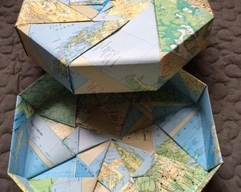 Origami octangular recycled map box