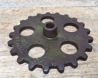 Vintage Metal Cast Iron Sprocket Gear Cog Wheel John Deere Industrial Steampunk