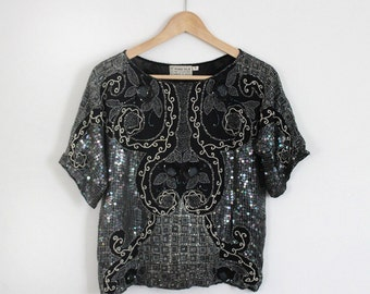 Silk Sequined Top with Dolman Sleeves *SALE*
