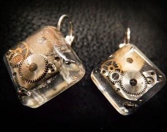 "Steampunk earrings ""Rectangular"" series"